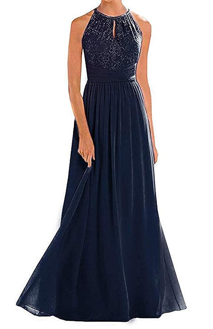 Navy ONLYCE Sleeveless Halter Wedding Party Dress A Line Long Bridesmaid Dress