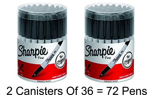 2 x Sharpie Permanent Markers, Fine Point, Black, Box of (Black Fine Box)