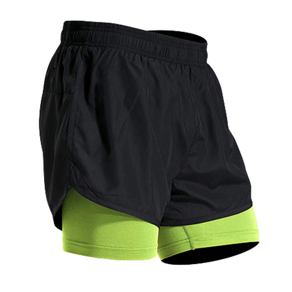 TIANMI Men's Fake Two-Piece Shorts,Comfortable Training Pants Men Fitness Pants Trousers Sportswear Shorts Trunks Green