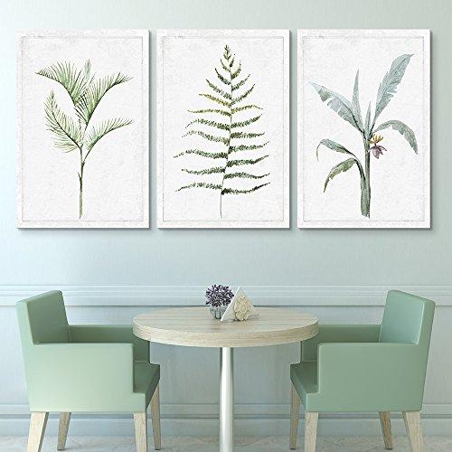 3 Panel Hand Drawn Minimal Plant Type Artwork x 3 Panels