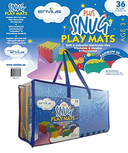 EnviUs Snug Plus Play Mat Rainbow 36: Formamide Free Ultra Thick 36 Pieces 12