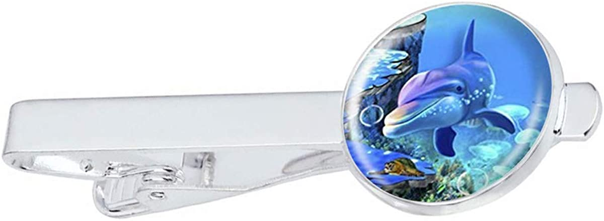 LooPoP Men Tie Clip Beautiful Dolphin Stainless Tie Pins for Business Wedding Shirts Tie Clips Include Gift Box