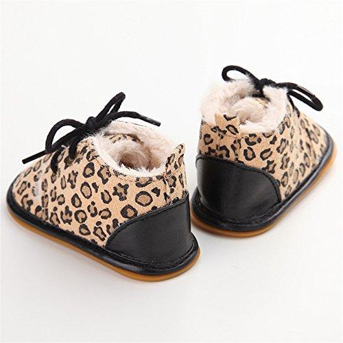 Estamico - botines de bebé de suela de goma de invierno beige beige Talla:6-12 meses leopardo