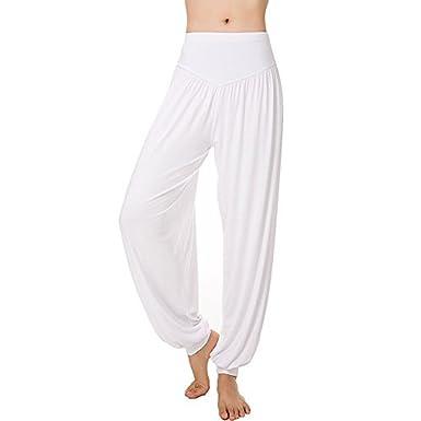 Pantalon Yoga Femme Ete Large Baggy Hip Hop Harem Sarouel Aladin Danse  Pilates Pantalon Palazzo Taille 1e7af3a1ab24