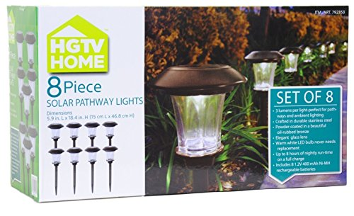 HGTV Solar Pathway Lights Small, 3 Lumens Output 8 ct by HGTV