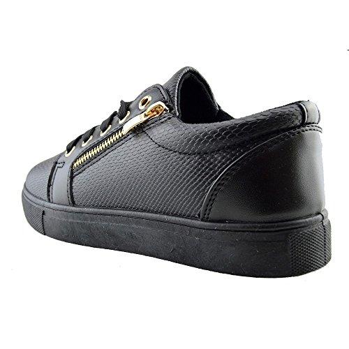 Nero Piattaforma Scarpe Grosso Donna Unica Formatori Coccodrillo Look Pizzo Kick Footwear Skater xP7w44