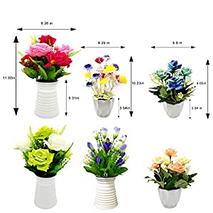 UIKKOT Artificial Fake Flowers Silk Bouquet Roses in Plastic Vase Sturdy Bottom Arrangements for Indoor Outdoor Decorations Wedding Party Home Videos Table Gift or MV (Pink and Yellow) 4