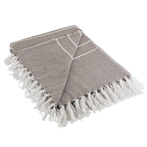 DII Rustic Farmhouse Cotton Thin White Striped Blanket Throw with Fringe For Chair, Couch, Picnic, Camping, Beach, & Everyday Use , 50 x 60'' - Stone by DII