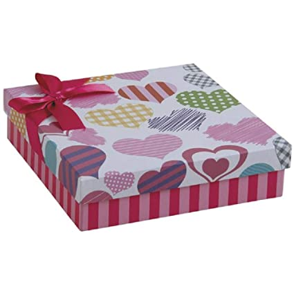 Caja de regalo cuadrada en corazones de cartón patrón 19 x 19 x 5 cm