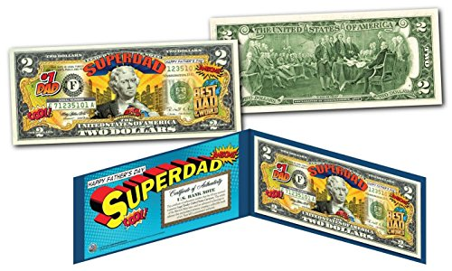 HAPPY FATHERS DAY #1 DAD SUPERHERO Legal Tender U.S. $2 Bill w/DISPLAY & COA
