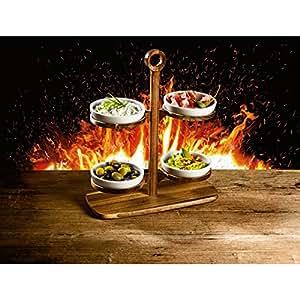 Villeroy & Boch mesa Cultura DIP Etagere Incluye 4dipbowl Ultimate BBQ Madera de Acacia