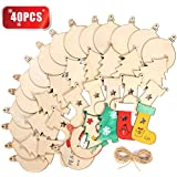 "Wooden Christmas Ornaments DIY Round Unfinished Wood Pieces Slices Scrafts for Kids Tree Decoration Christmas Craft Supplies 40Pcs 3"" Predrilled with Hole Blanks Discs Bulk"