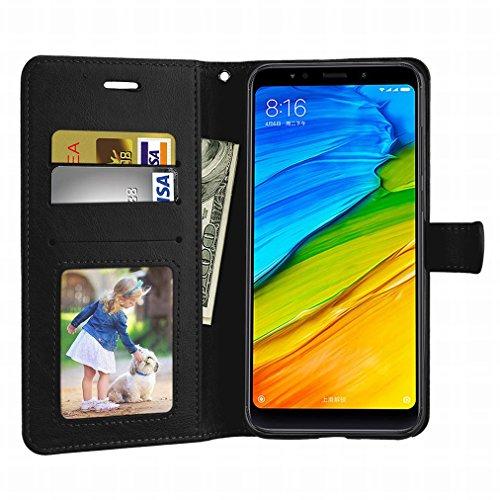 Laybomo Schuzhülle Xiaomi Redmi Note 5 Hülle Ledertasche Weiches Gummi Silikon TPU Haut Beutel Schützend Stehen Bilderrahmen Brieftasche Schale Tasche Handyhülle für Xiaomi Redmi Note 5 (Rose) Schwarz