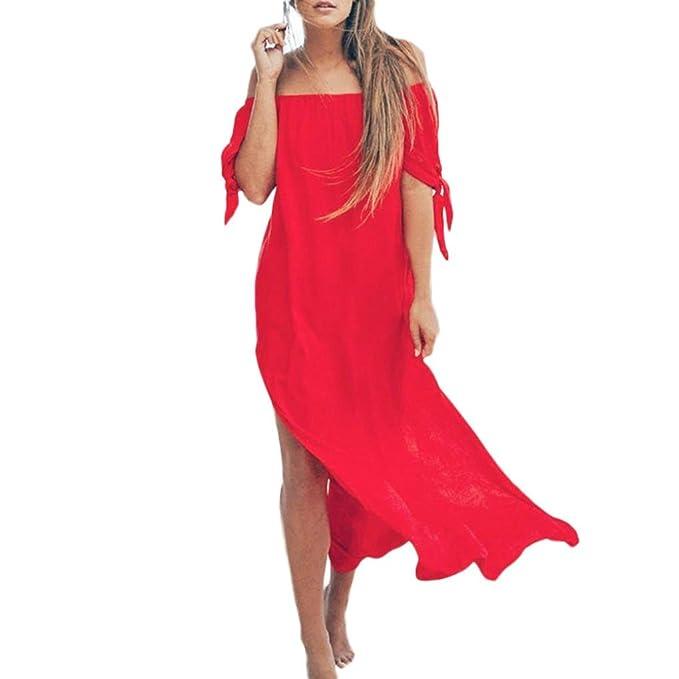 Damen Kleider Sommer Lang Chiffon Strandkleidung Schulterfrei Maxikleid  Urlaub Bademode Vertuschen Sommerkleid (S, Hellrosa 6164c444f1