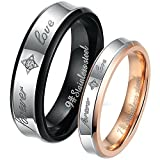 """His and Hers """"Forever Love"""" Black & Rose Gold Plated Stainless Steel Zirconia Cz Wedding Band Couple Ring"""