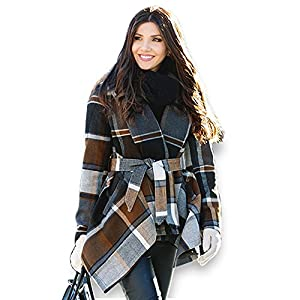 Chicwish Women's Turn Down Shawl Collar Earth Tone Check/Black White Grid/Black / Plum/Cream/ Pink Wool Blend Coat