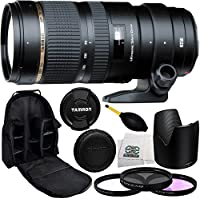 Tamron SP 70-200mm f/2.8 Di VC USD Zoom Lens for Canon with 77mm 3 Piece Filter Kit (UV+FLD+CPL), Dust Blower, Lens Backpack & Microfiber Cleaning Cloth - International Version (No Warranty)