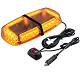 PROZOR Car Roof Flashing Light LED Emergency Warning Light 12V 24W Amber Waterproof Vehicle Roof Flash Light with 5m Cigarette Lighter Cable 7-Flashing Modes Amber Car Light for Cars Truck SUV