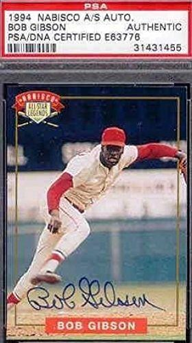 Bob Gibson Signed 1994 Nabisco Autograph Authentic - PSA/DNA Certified - Baseball Slabbed Autographed Cards
