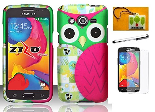 LF 4 in 1 Bundle - Designer Hard Case Cover, Lf Stylus Pen, Screen Protctor & Wiper Compatible with (T-Mobile) Samsung Galaxy Avant G386T (Designer Owl)