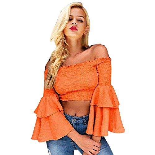 UMFun Womens Off Shoulder Trumpet Sleeve Blouse Ladies Holiday Short Shirt Tops (Orange, M) ()