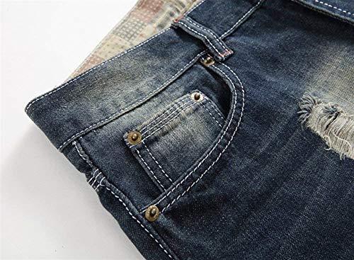 Pantaloni Con Lanceyy Uomo Casual Strappati Rigati In Dunkelblau Semplice Jeans Stile Denim Da Tzdr4zn