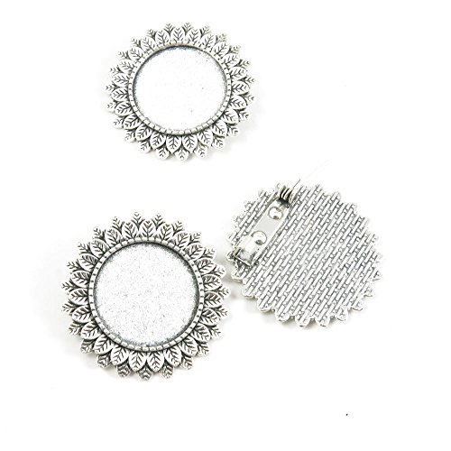 5 Pieces Antique Silver Tone Jewelry Making Supply Charms Filigrees Arts Crafts Beading Findings Crafting Y8QQ8I Pinback Brooch Cabochon Setting Blank 20mm Antique Silver Tone Brooch