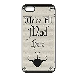 Alice in Wonderland We're all mad here Cheshire Cat Always Grin Especial Durable Hard Plastic Case Cover Fits Apple Iphone 5/5s Design Yedda DIY