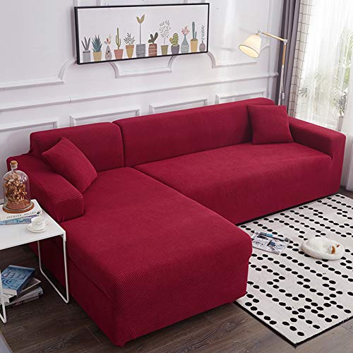 JJ-SFC High Stretch Sofa Couch Cover,l-Shape Universal Couch Covers,1-Piece Chaise Sofa Slipcover Elastic Couch Shield Furniture Protector for Pets Dogs-red 4 Seater(93-118inch)