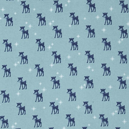 Riley Blake Cozy Christmas Flannel Reindeer Blue Fabric By The Yard