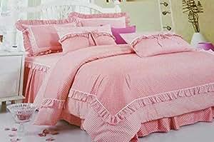 Deng Twin/single Size, 220 X 160 Cm, 3 Pieces, Cotton, Polka Dot Pattern, Pink - Bedding Sets