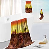 SCOCICI1588 personalized bath towel setFamous Cany Cliff with Dramatic Cloudy Sky Southwest Terrain Place Nature Super Soft,Machine Washable 13.8''x13.8''-11.8''x27.6''-27.6''x55.2''