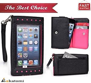 [BLACK & HOT PINK] LG Spectrum VS920 Case   Universal Women's Wallet with Built-in Thick, Frosted Screen Protector...