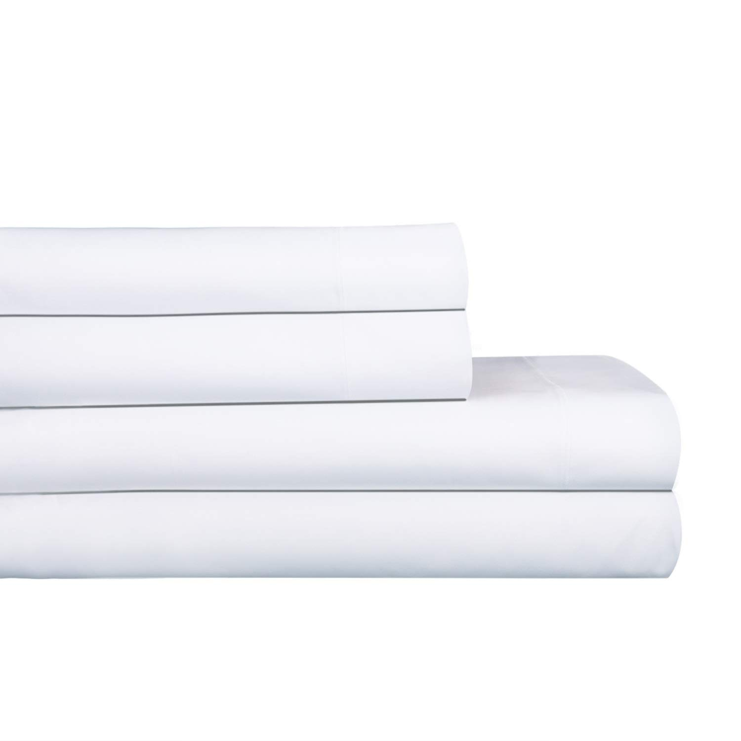 """AURAA Royale 1000 Thread Count 100% American Supima Long Staple Cotton Sheet Set,4 Pc Set, King Sheets Sateen Weave,Hotel Collection Luxury Bedding,Upto 18"""" Deep Pocket,White"""