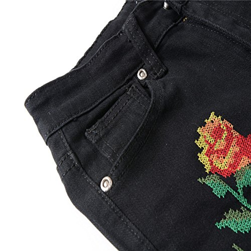 Denim Noir Up Pantalons Femmes Trendy Jeans Jean Brodes Fleurs Skinny Casual Push IwOXUOPqv