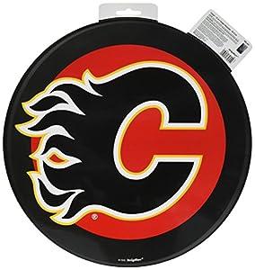 "Calgary Flames Black Hockey Puck Laminated Cardstock Cutout NHL Hockey Sports Party Decoration, 12""."