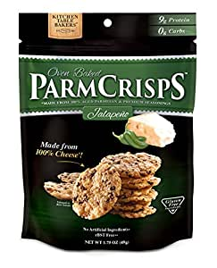 ParmCrisps Jalapeno Flavor, Gourmet Snack Made From 100% Real Parmesan Cheese, Wheat Free, Gluten Free, Sugar Free, Keto Friendly, 1.75oz Bag, Pack of 12