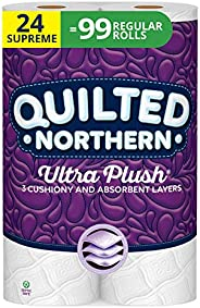 Quilted Northern Ultra Plush Toilet Paper, 24 Supreme Rolls, 24 = 99 Regular Rolls, 3 Ply Bath Tissue, 3 Packs