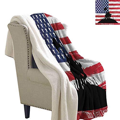 (Jaydevn American Lightweight Blanket God Bless USA Flag Super Soft Blanket for Coach, Sofa,Bed 60x32 Inch)