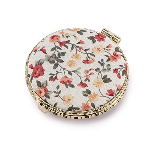 FORNORM Floral Makeup Mirror for Handbag,Retro Personalised Compact Mirror Handheld Mirror Pocket -