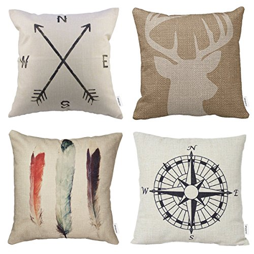 - HIPPIH 4 Packs Throw Pillow Covers 18 X 18 Inch, Cotton Linen Sofa Pillow Case Cushion, Home Decor Design Covers,1x Deer Antlers + 1x Feathers + 1x Compass + 1x Navigation Compass