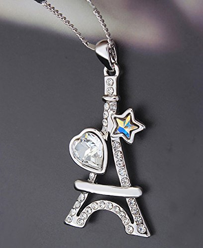 Sojewe Gold Plated The Eiffel Tower Pendant Necklace Multicolor Swarovski Elements Crystal
