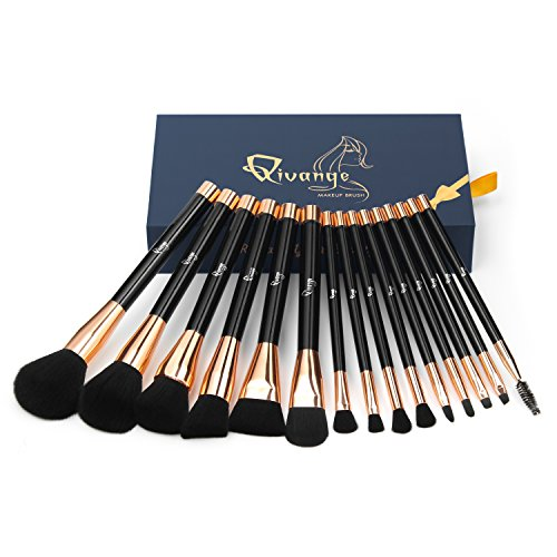Qivange Makeup Brushes, Professional Powder Foundation Eyeshadow Brush Set(15pcs, Black with Rose Gold)