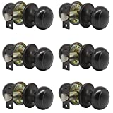 Probrico Passage Door Knob Handles Interior Hall/Closet Keyless Locksets Oil Rubbed Bronze 6 Pack