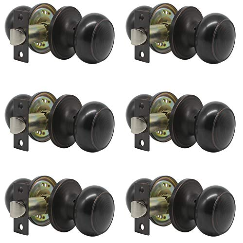 Probrico Passage Door Knob Handles Interior Hall/Closet Keyless Locksets Oil Rubbed Bronze 6 Pack by Probrico (Image #8)