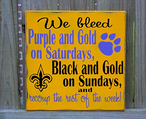 (Ruskin352 LSU Tigers New Orleans Saints Football Custom Wood Sign Geaux Tigers Football Sign Man Cave)