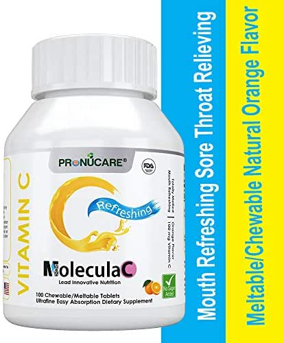 PRONUCARE Mouth Refreshing Sore Throat Relieving Vitamin C Meltable/Chewable Natural Orange Flavor Ultrafine Easy Oral Absorption 100mg Melts Multiple Tablets Daily, 100CT