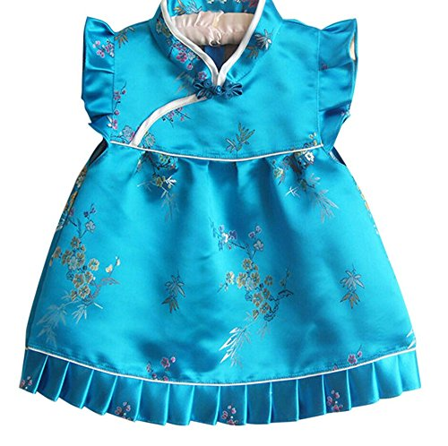 - CRB Fashion Baby Toddler Kids Girls Qipao Celebration Chinese New Years Asian Costume Set Dress Outfit (6 to 12 Months, Aqua Simple Flowers)