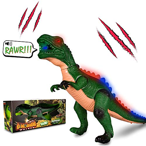 Windy City Novelties LED Light-up Walking & Roaring T-Rex Dinosaur Toys for Boys and Girls (T-Rex)