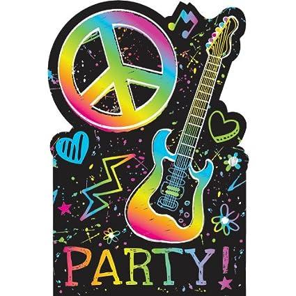 Amazon Com Amscan Groovy Neon Birthday Party Postcard Invitation